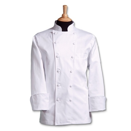 CHEF COAT LONG SLEEVE WHITE PEARL BUTTON MED 1/1EACH