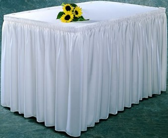 TABLESKIRTING BOX PLEAT POLY WHITE 1/1EACH