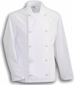 CHEF COAT LONG SLEEVE WHITE MED 1/1EACH