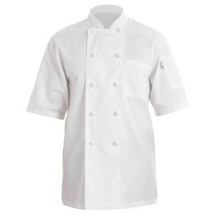 CHEF COAT SHORT SLEEVE WHITE MED 1/1EACH