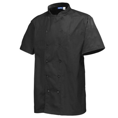 CHEF COAT SHORT SLEEVE BLACK LARGE 1/1EACH