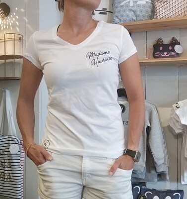 T-shirt col V blanc / texte bleu marine
