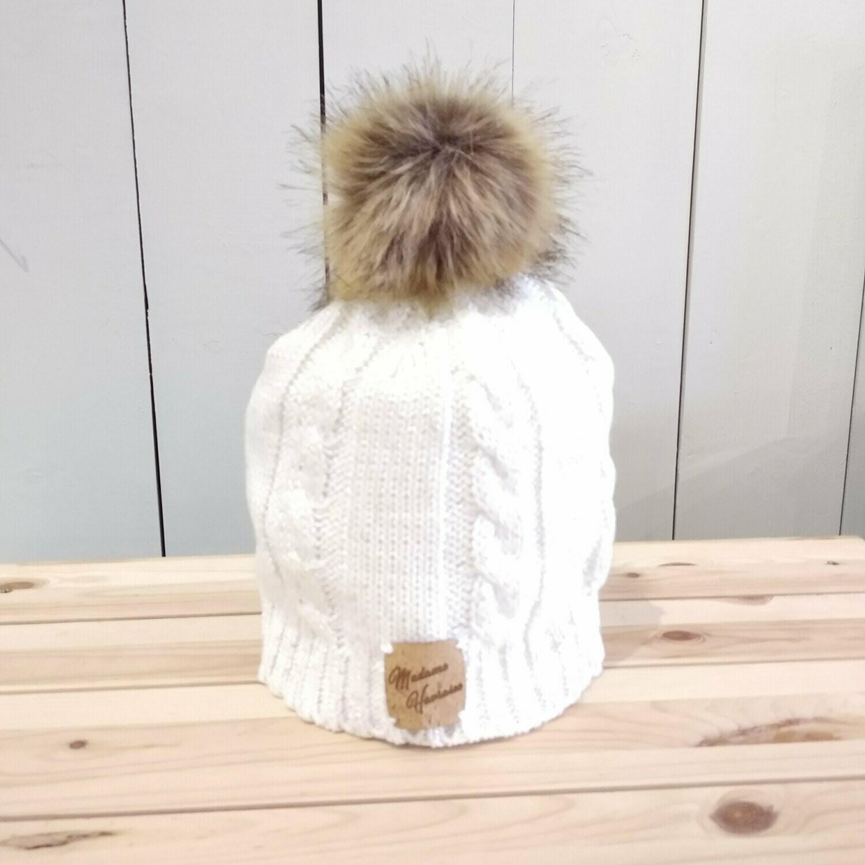 Bonnet pompon blanc