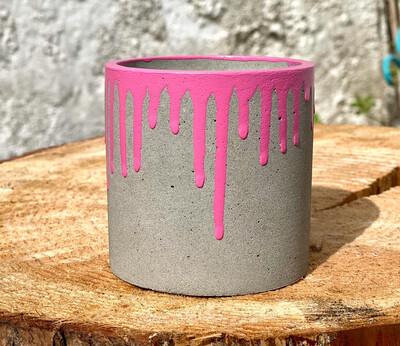 Neon Pink Drip Cylinder Planter