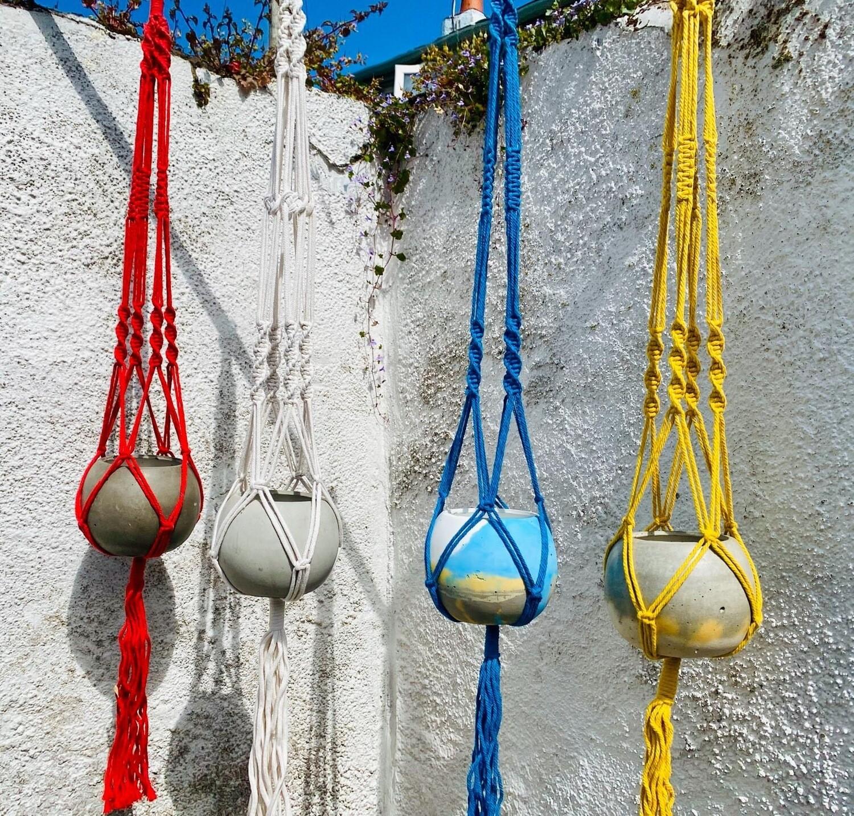 Colour Macrame Ball Planters