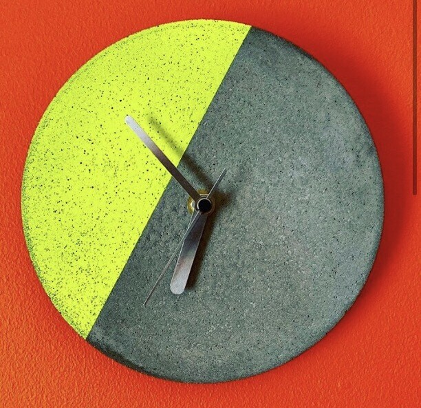 Concrete & Neon Wall Clock