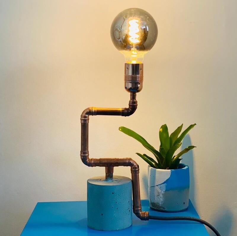 Concrete & Copper Lamps