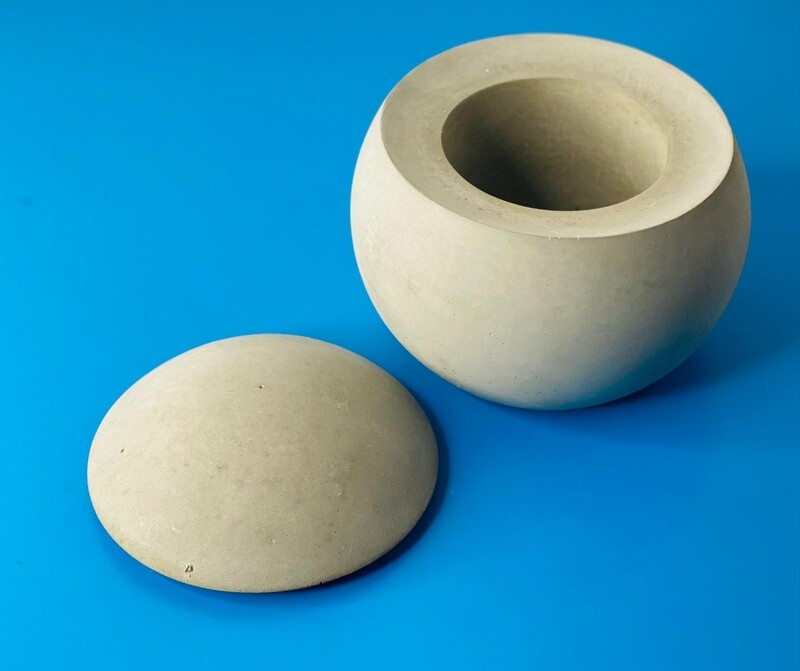 Concrete Sphere Container with Lid
