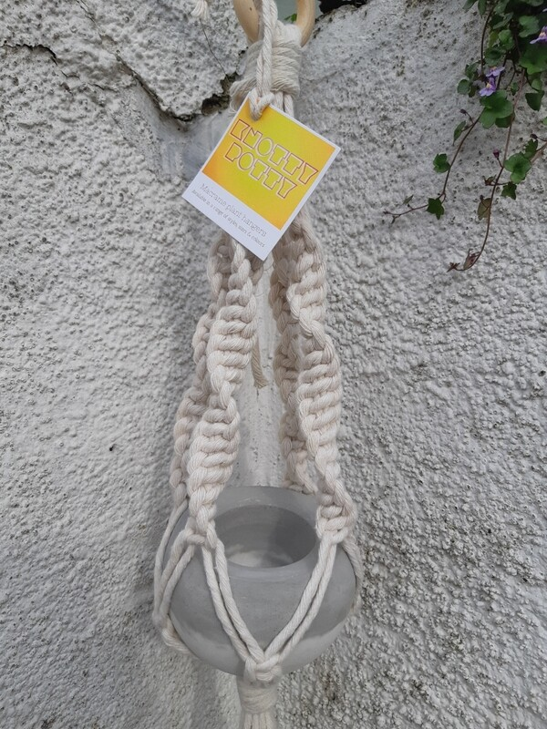 Double white macrame pot hanger