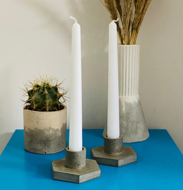 Pair of Hexagon Candle Holders
