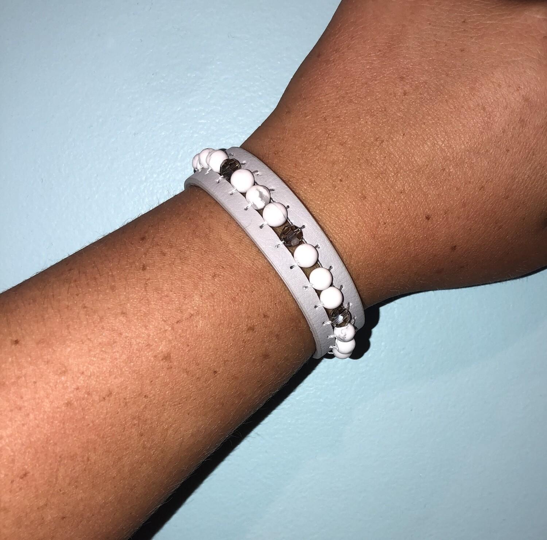 Leather & Stone Snap Bracelet