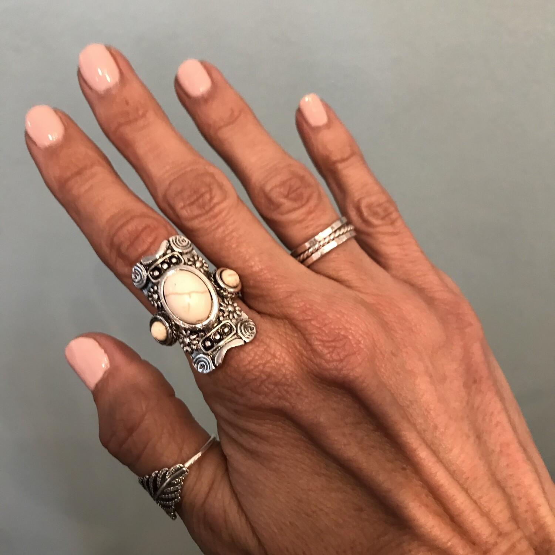 White Stone & Silver Ring