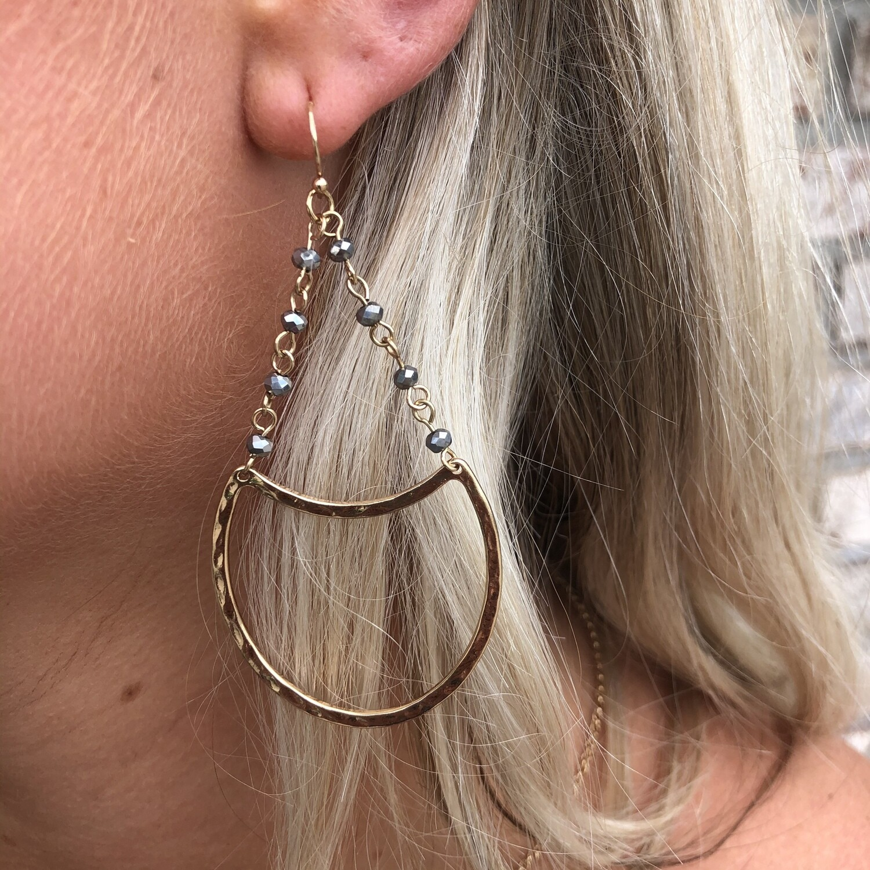 M Gold half moon with hematite beaded earrings