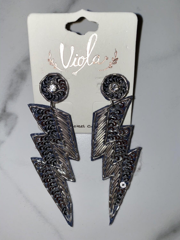 WAM Sequin Lightning Bolt Earrings