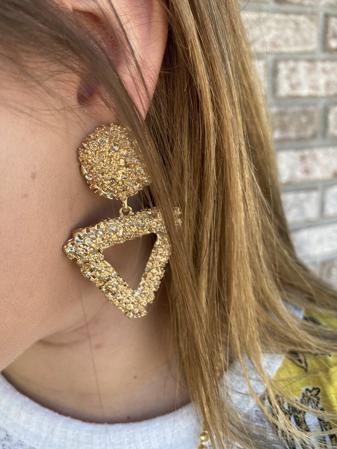 Gold Statement Textured Earrings
