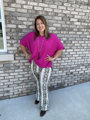 JO Taupe Snake Print Flare Pants