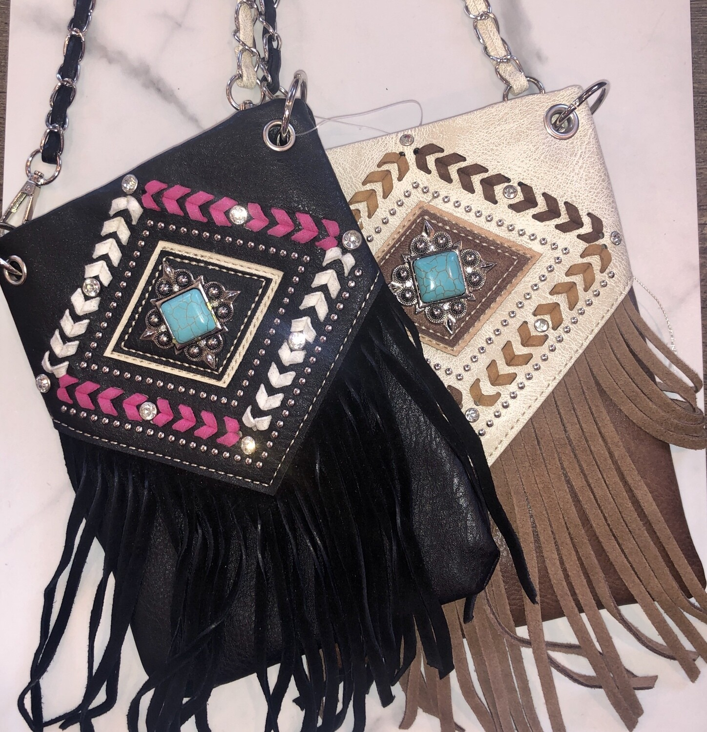 TCB Turquoise Stone with Leather Fringe Purse