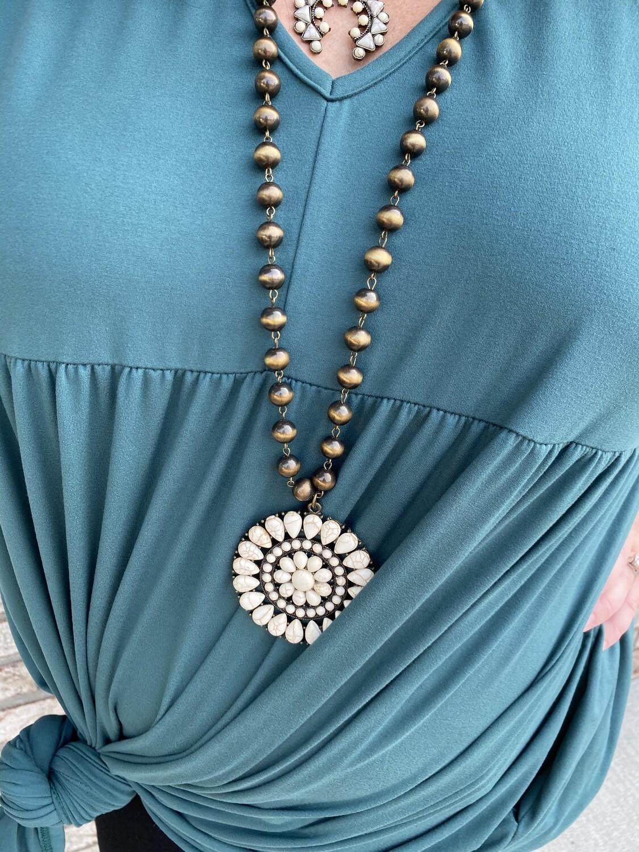 Squash Blossom Navajo Pearl Necklace