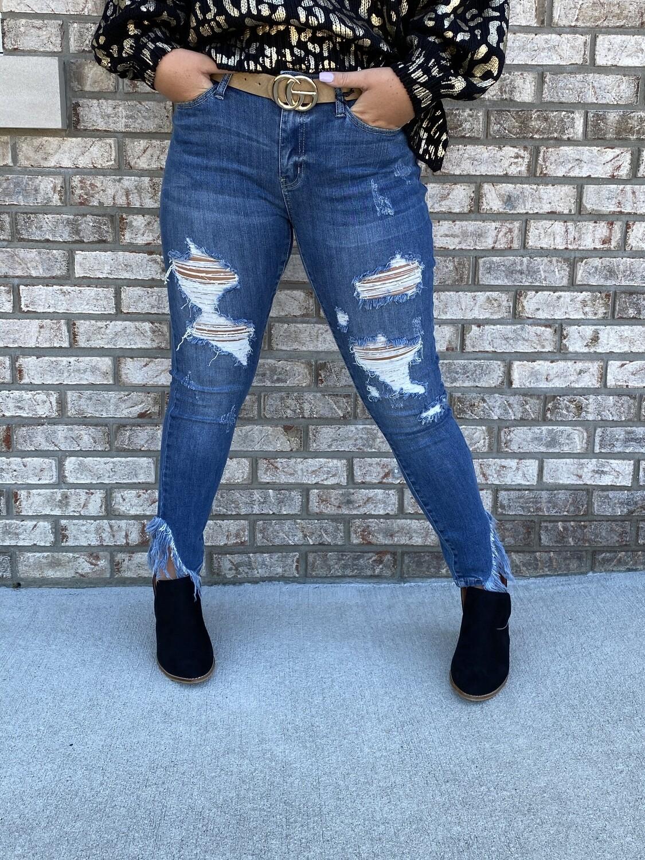 Judy Blue Asymmetric Frayed Hem Skinny Jeans