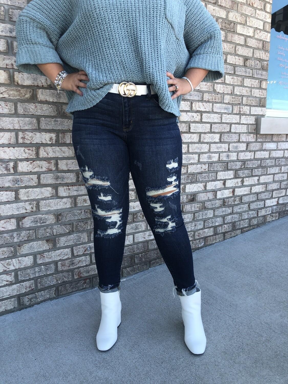 Judy Blue Mid-Rise Destroyed Boyfriend Jeans