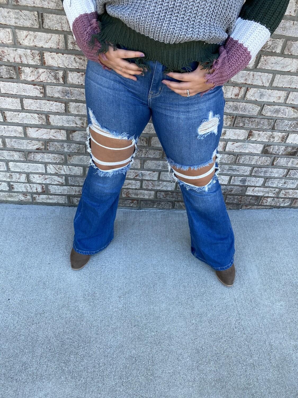 Cello High Rise Distress Super Flare Jeans