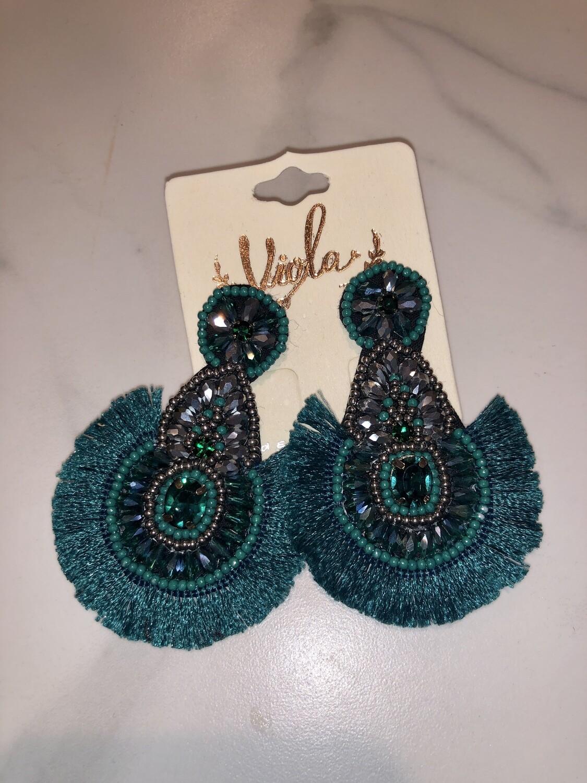 Teardrop Tassel Embellished Earrings