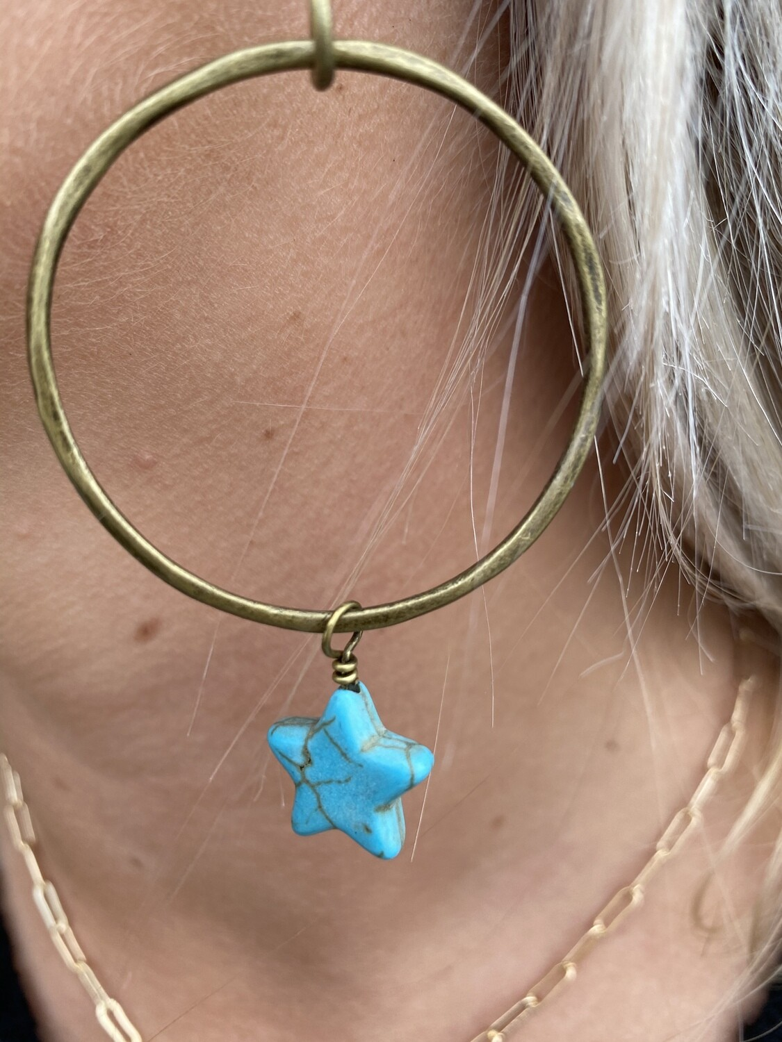 TH Dangle Hoop with Star Turquoise Charm