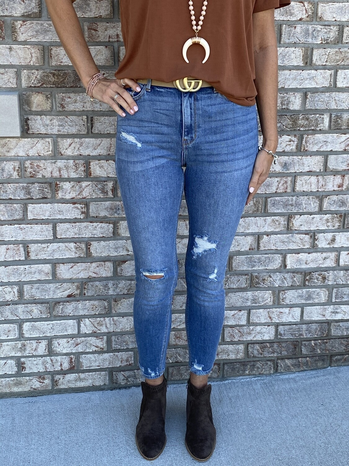 Cello High Rise Distress Ankle Skinny Jeans