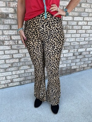 JO Corduroy Cheetah Bell Bottoms