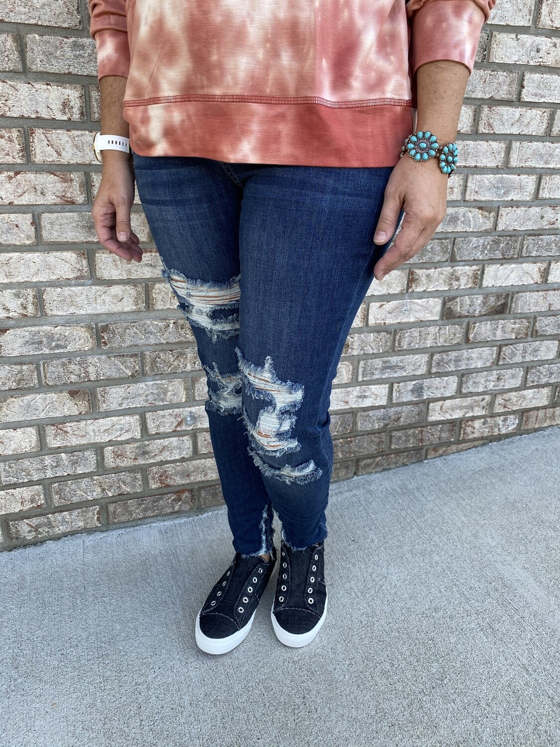 Judy Blue Hi Rise Cropped Distressed Skinny Jeans