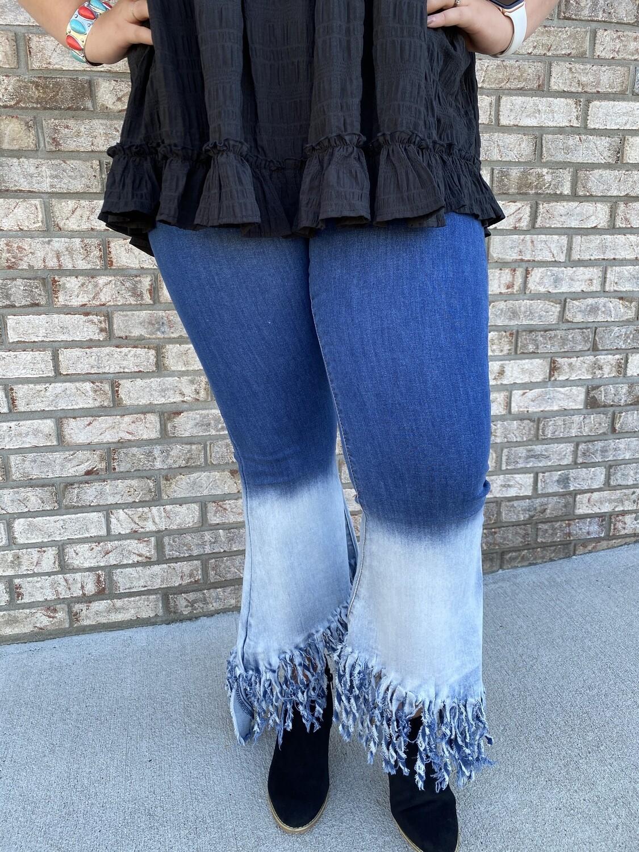 LB Bleach Asymmetrical Fringe Hem Denim Jeans