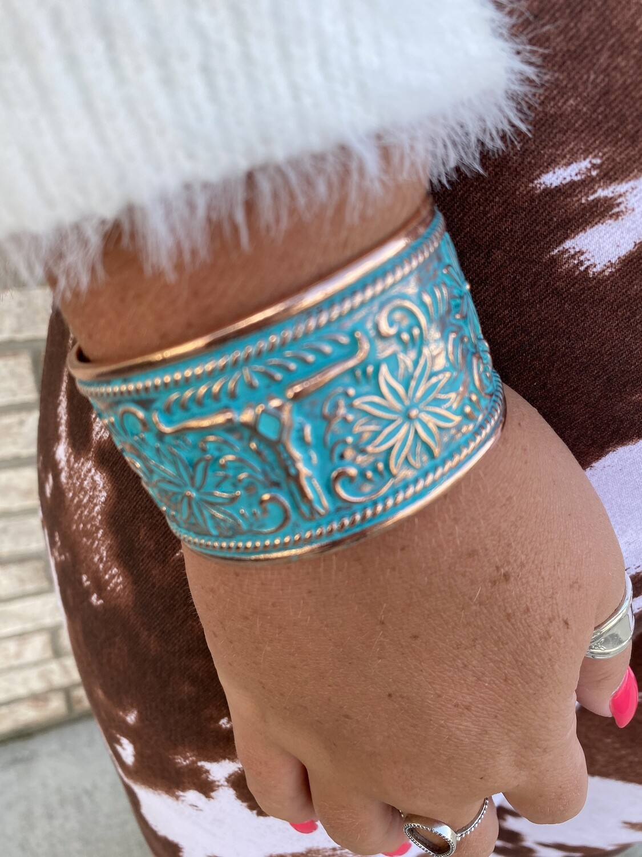 LB Bronze Patina Stamped Cuff