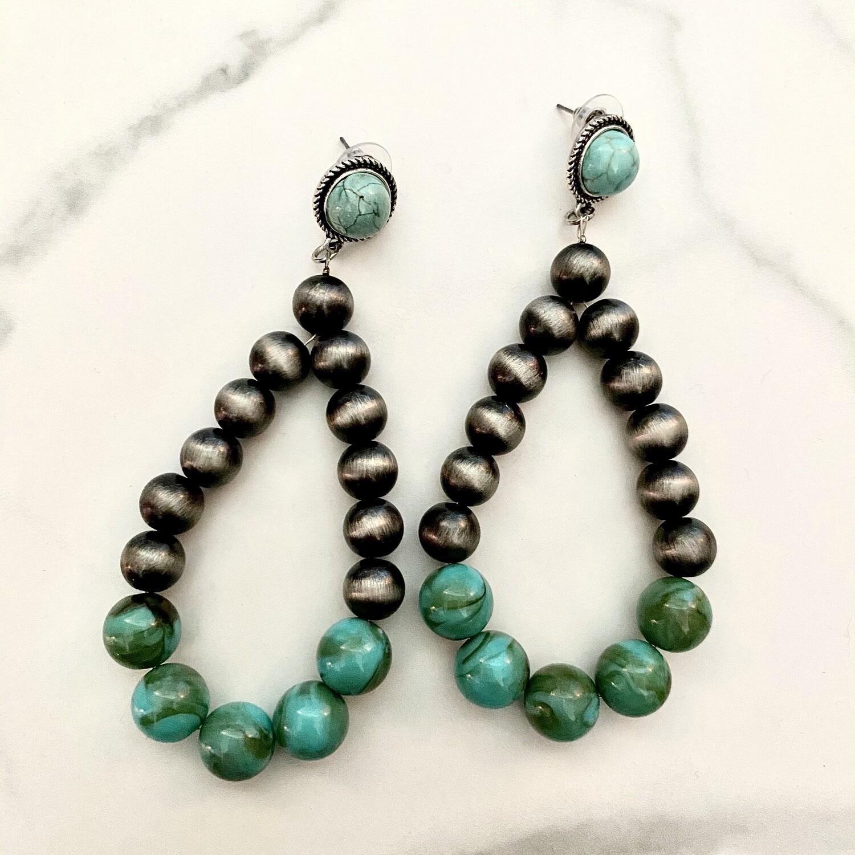 IT Large Turquoise & Navajo Pearl Post Earrings