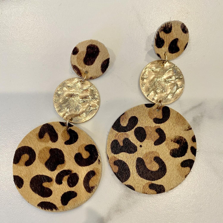 Triple Layer Cheetah Disc Earrings
