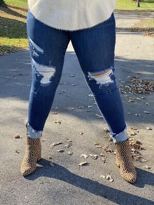 Judy Blue Asymmetrical Cuff Hem Destroy Skinny