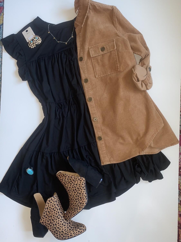 EN Tiered Dress with Ruffle Sleeve