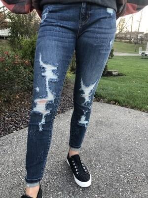 JB Midrise Heavy Destroy Skinny Jeans