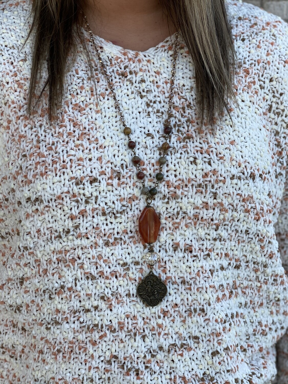 CS Beaded Necklace with Pendant and Charm