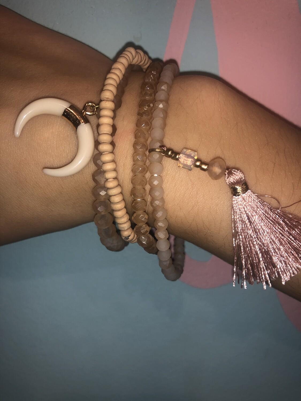 Tassel and Bullhorn Stretch Bracelet Set