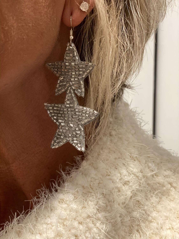 WAM Silver Seed Bead Star Earrings