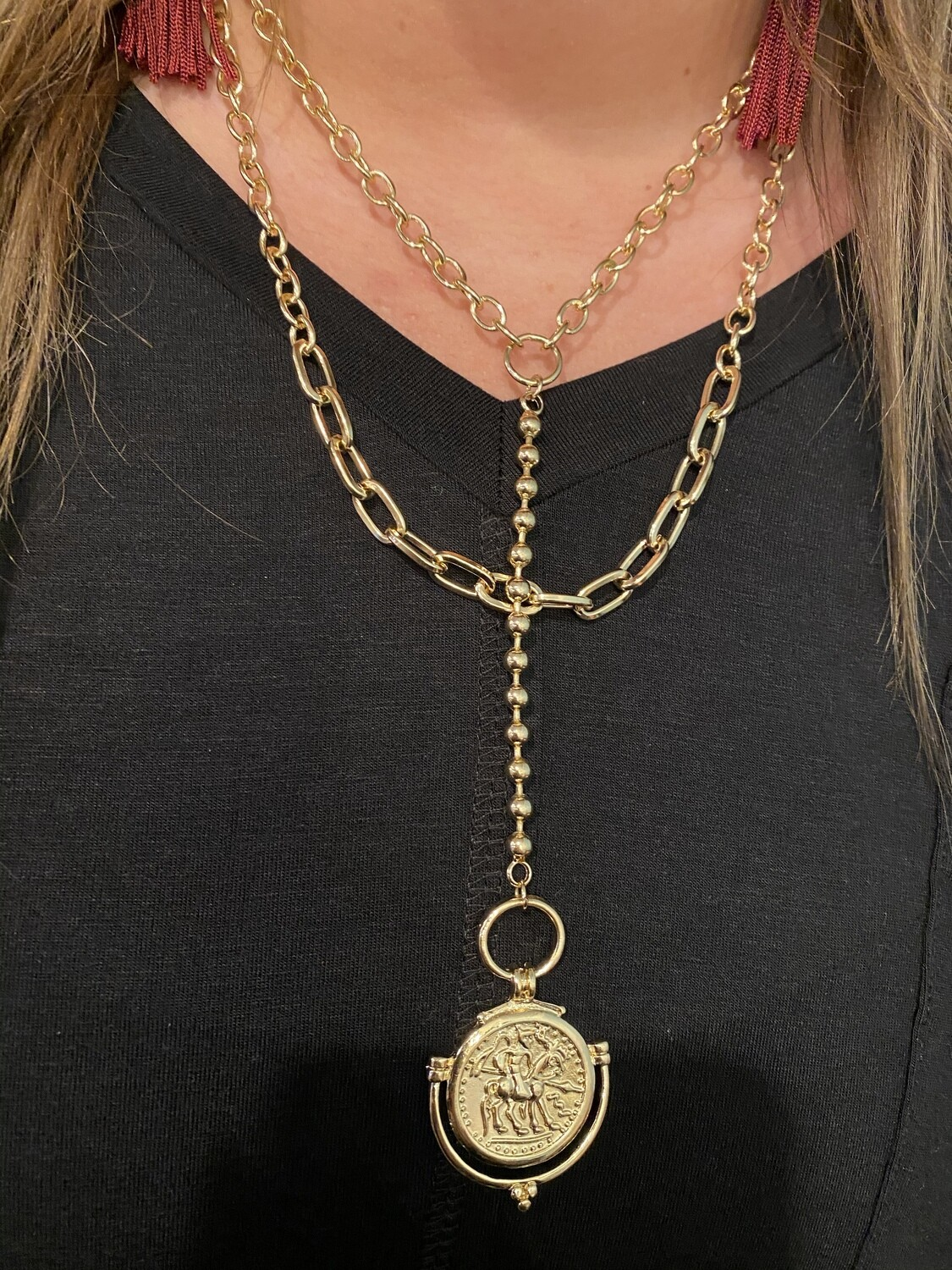 Gold 2 Layer Coin Y Chainlink Necklace