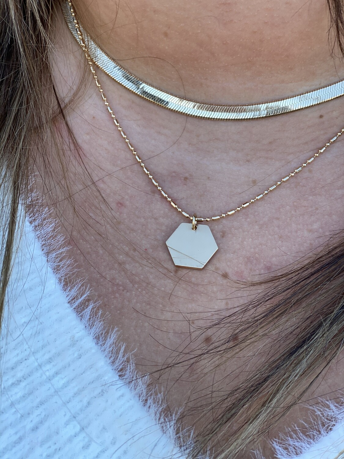WH Matte Snake Chain With Hexagon Layered Necklace