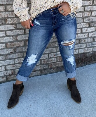 JB Bleach Splash Boyfriend Jeans