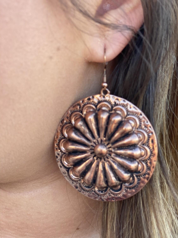 WAM Burnished Sunburst Concho Earrings