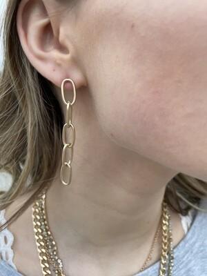 """WH Chain Stud 2"""" Drop Earrings"""