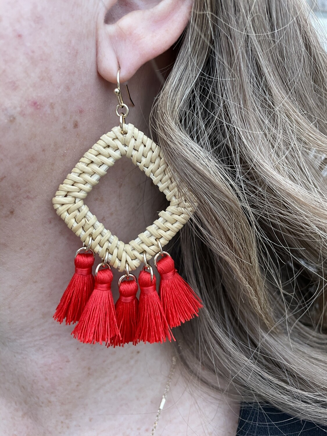 Red Tassel Rafia Earrings