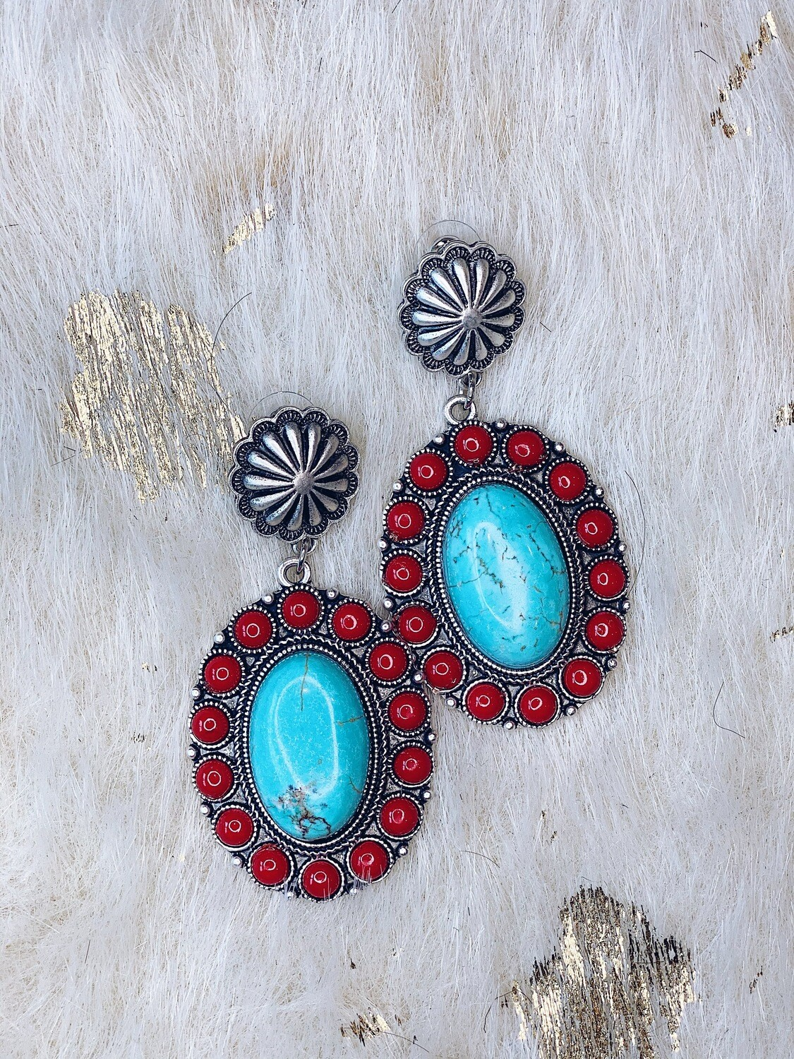 Turquoise & Red Stone Post Earrings