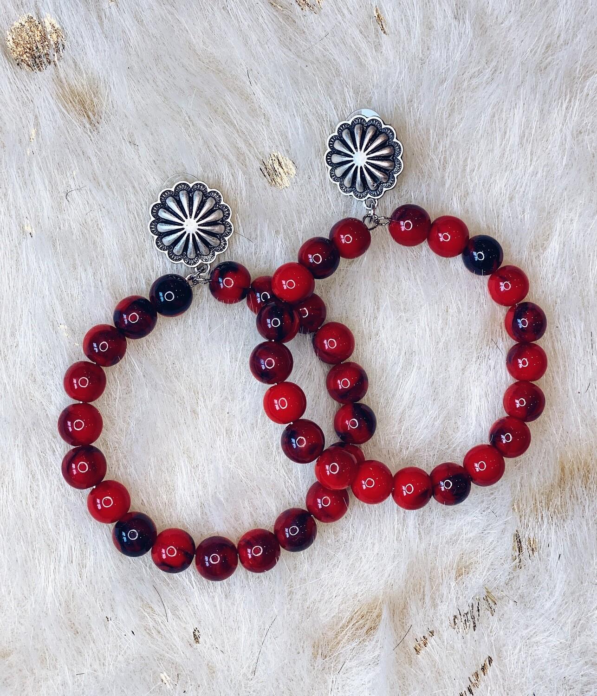 Red Beaded Hoop Post Earrings