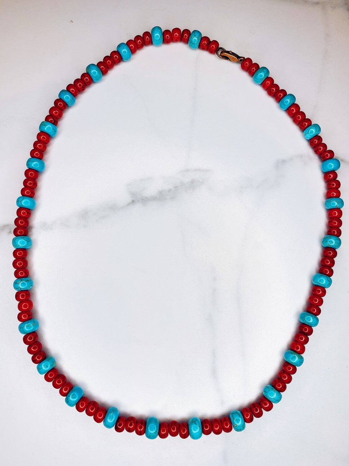 Red & Turquoise Bead Necklace