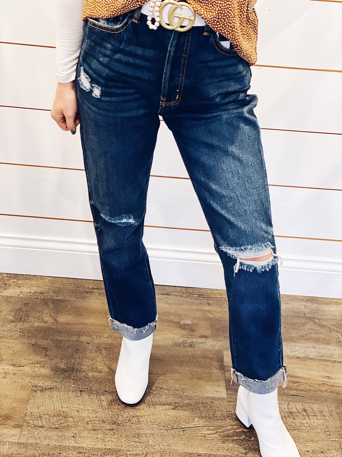 Cello High Rise Distress Straight Jeans